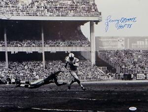 Lenny Moore HOF Autographed Colts 16x20 Against Diving Defender Photo-JSA W Auth