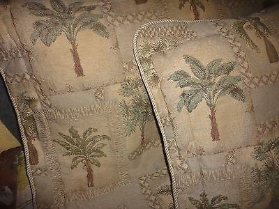 JCP PENNEY KIMLOR PALM GROVE TREES (PAIR) KING PILLOWS SHAMS GREEN KARIN MAKI