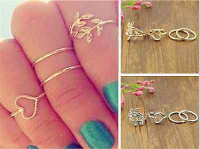4PCS 3D Charm Urban Stack Plain Above Knuckle CUTE Leaves Crystal Band Midi Ring