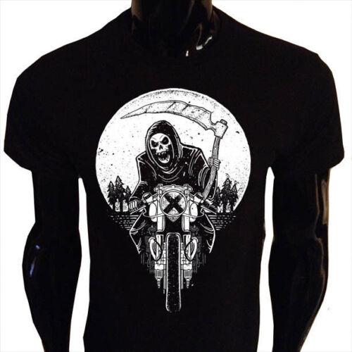 Grim racer t-shirt homme S-5XL mort faucheuse moto motard faux goth rock WA6