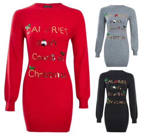 Womens Ladies Novelty Soft Knitted Knitwear Christmas Sequin Tunic Xmas Jumper