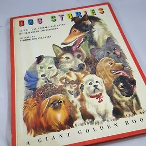 Vintage-Dog-puppy-Stories-Giant-Golden-Book-bedtime-poems-hardcover-over-sized