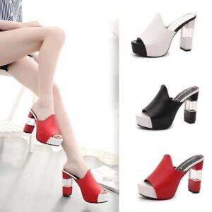 bca5a421345 Women Peep Toe Mules Ladies Clear High Block Heels Sandals Platform ...