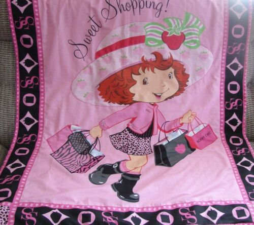Strawberry Shortcake Sweet Shopping Cotton Top Pink Minkee Cot Blanket Handmade
