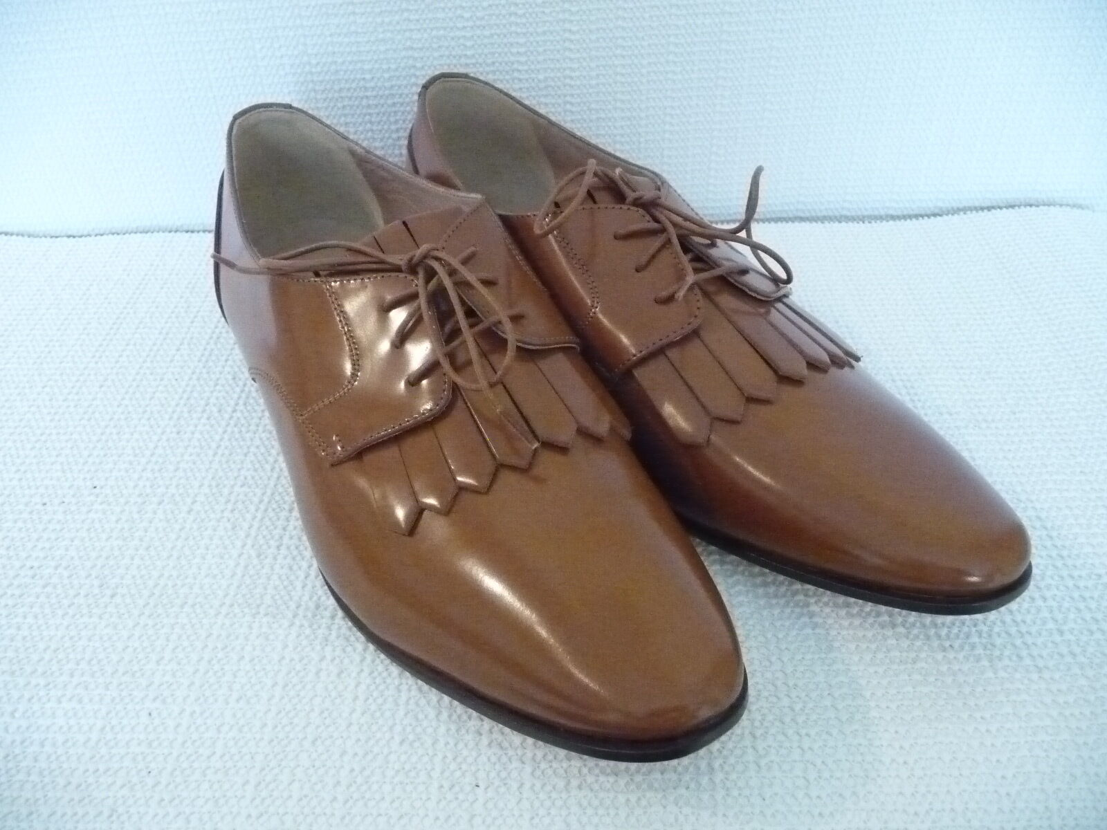 NEW J.CREW LEATHER OXFORDS WITH WITH WITH FRINGE, F4979, SIZE 10.5, WARM SEPIA,  228 40eb0a