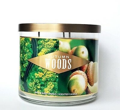 1 Bath /& Body Works AUTUMN WOODS Large 3-Wick Filled Candle