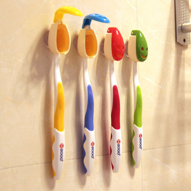 New 4pc Smile Face Toothbrush Cover Holder Case Suction Cup Bathroom Tube Travel
