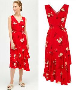 ba0b29865e21 Warehouse New Yellow   White Daisy Floral Midi Wrap Summer Dress in ...