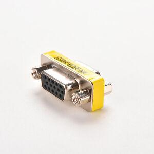 VGA SVGA 15 Pin Female to Female F//F Mini Gender Changer Adapter Connector LL