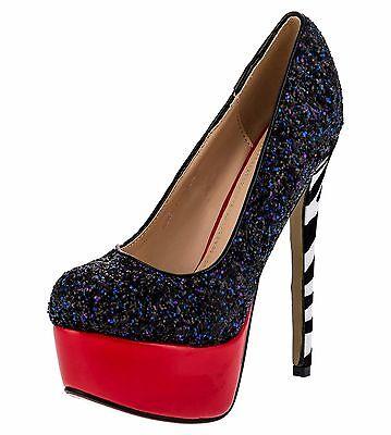 Damenschuhe Schwarz 36-41 NEU Luxus Pumps Damen Schuhe Party High Heels Plateau