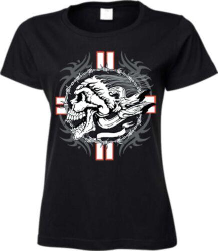 T shirt en noir avec un GOTHIK /& tatouage motif modèle maltese cross skull