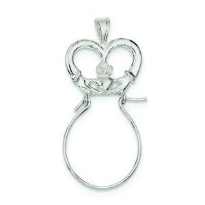 .925 Sterling Silver Claddagh Charm Porte-charm Pendentif Pdsf $30-afficher Le Titre D'origine Blanc Pur Et Translucide