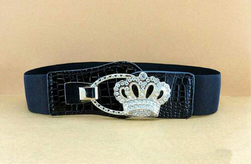 Vintage Women/'s Swan Crystal Silver Buckle Elastic Stretch Waistband Wide Belts