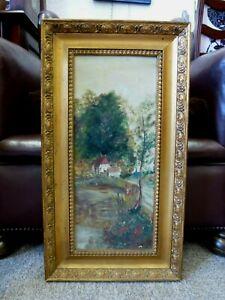 Vintage-Antique-Old-Gold-Framed-British-Oil-on-board-Painting-River-Landscape
