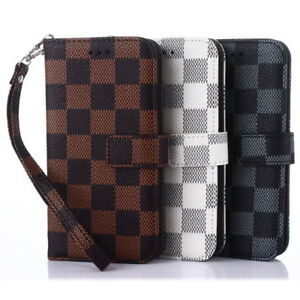 iPhone-X-XS-Max-6-7-8-Luxury-Damier-Grid-Pattern-Leather-Wallet-Flip-Case-Cover