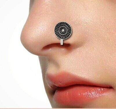 Bollywood Indian Oxidised Silver Nose Ring Clip Pin Tribal