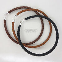 Sterling Silver Hook Clasp 4mm Round Braided Real Leather Bracelet, Easy Attach