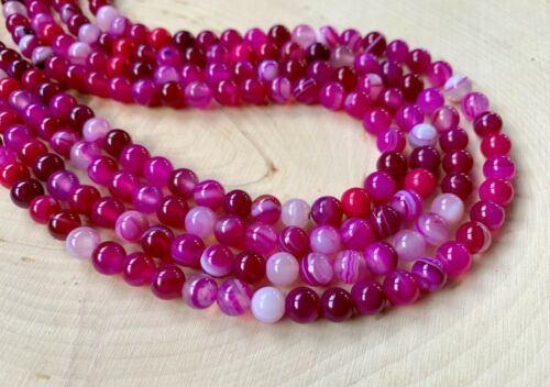 "Approx 60 Beads 14/"" Strand Hot Pink Agate Smooth Gemstone 6mm Rounds"