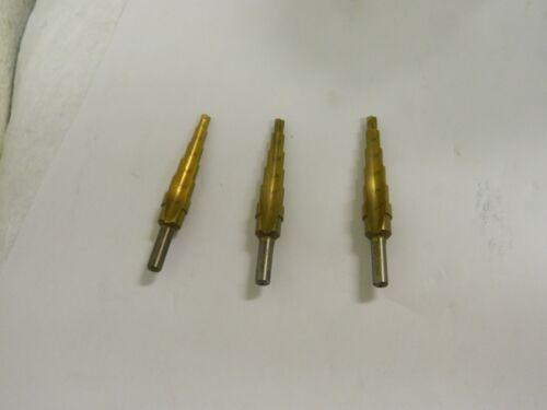 """Nuline 3//16/"""" 1//2 HSS TiN Step Drill Bits Qty 3 #166.2110003510"""
