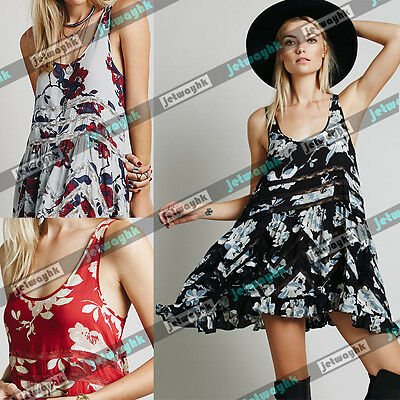 Free People Intimately Floral Printed Voile and Lace Trapeze Slip Dress XS,S,M