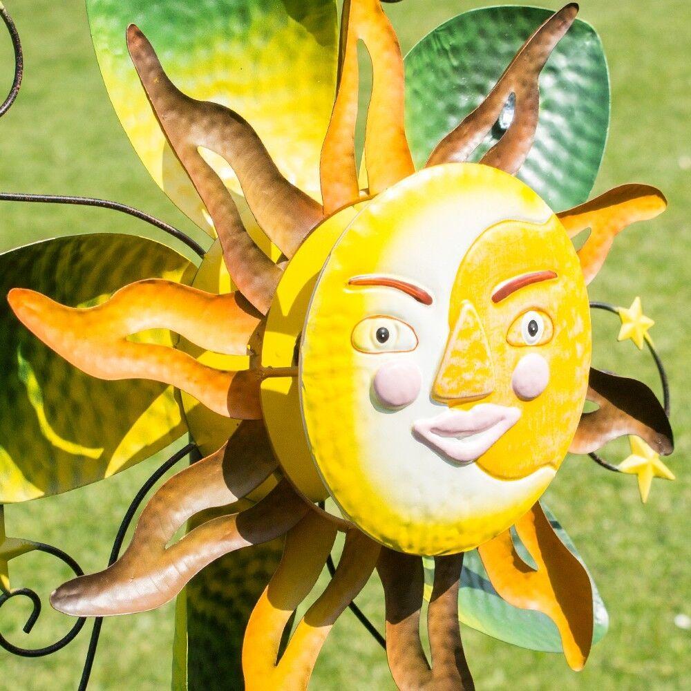 Viento juego sunface tubina eolica 61cm metal enchufe para jardín jardín decorativas Spinner molino