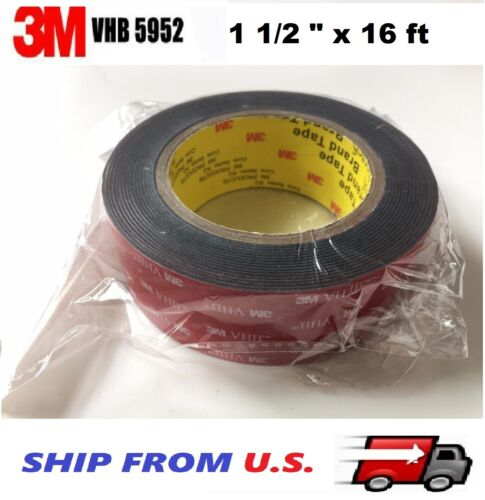 """3M 1.5/"""" x 16 ft  VHB Double Sided Foam Adhesive Tape 5952 Automotive Mounting"""