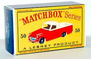 Matchbox-Lesney-No-50-COMMER-PICK-UP-MK-VIII-empty-Repro-style-D-Box