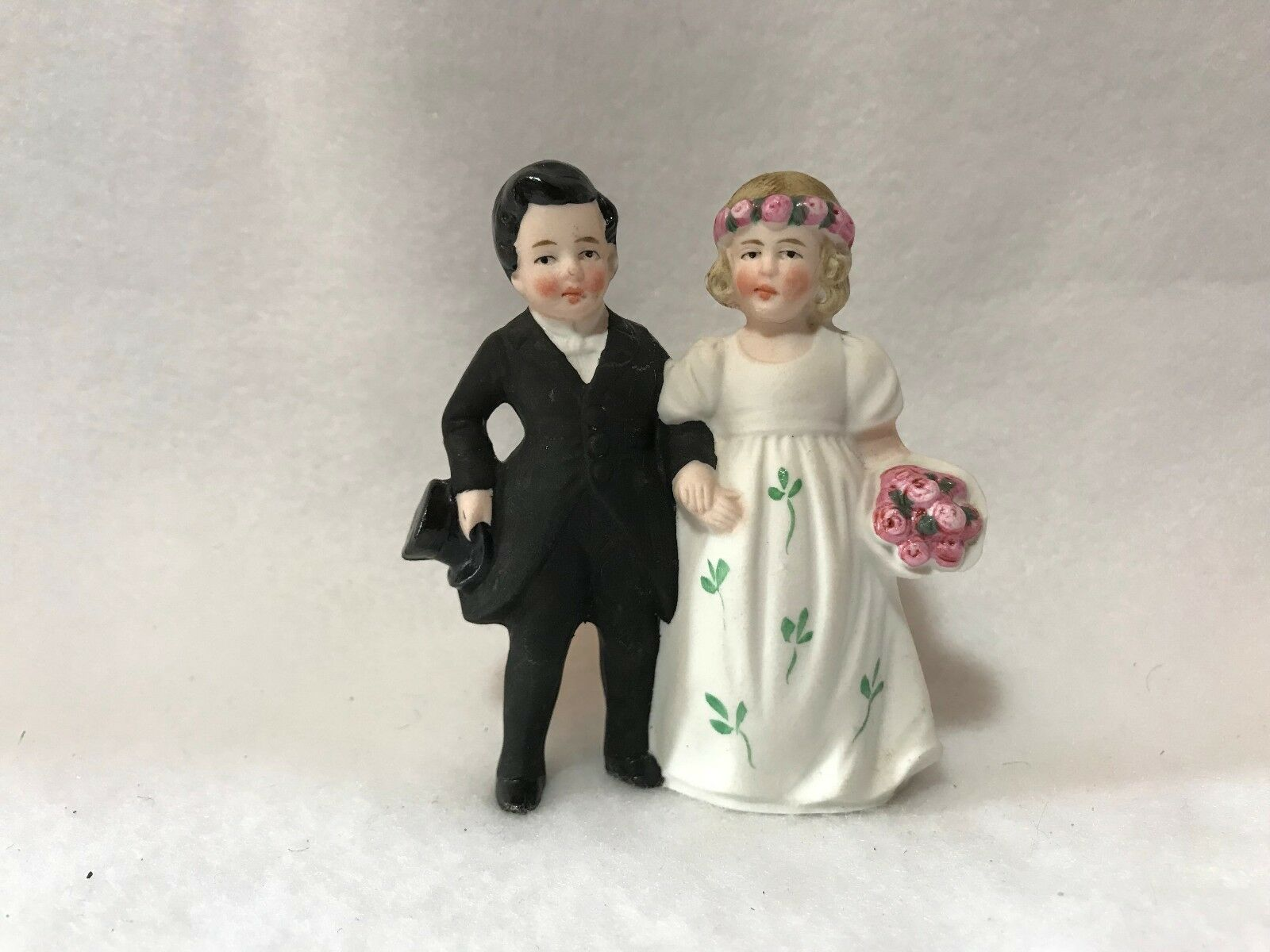 Vintage German Bisque Hertwig & Co. Bride & Groom Wedding Cake Topper 3