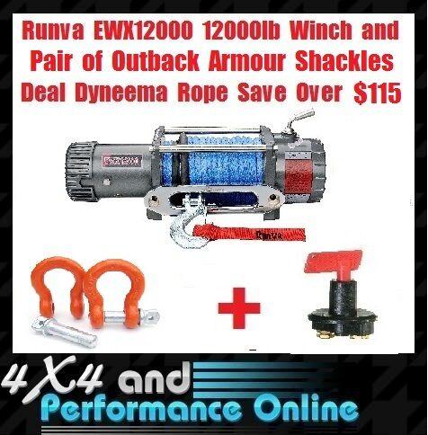 Runva Winch EWX 12000 lb 7.2hp Dyneema Rope Life Time Wty Outback Armour Bonus
