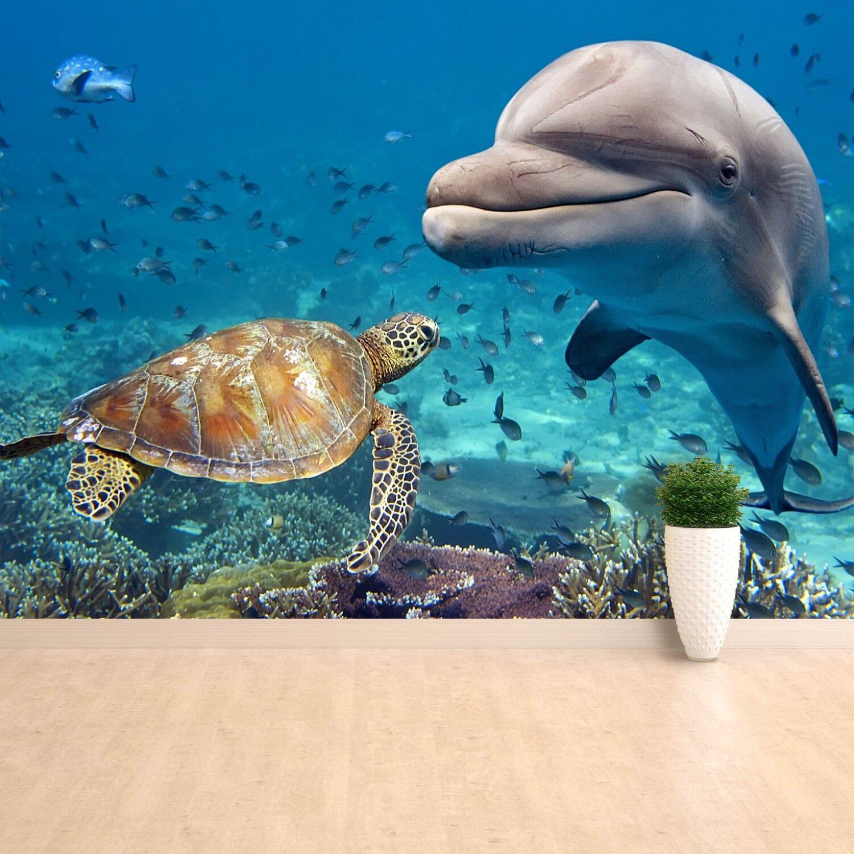 Papier-Fototapete Fototapeten Tapete Tapete Tapete aus Papier Poster Foto Delphin  Schildkröte d16e0a