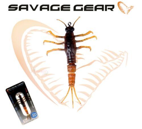 Savage Gear 3D TPE MAYFLY NYMPH Soft Lure Fishing Bait 5.6cm 2.5g Perch Bass lrf