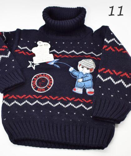 Baby Boys Girls Jumper Cardigan Baby High Polo Neck Knitwear Warm Winter Clothes
