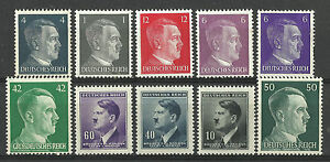 GERMANY-ADOLF-HITLER-STAMP-COLLECTION-PACKET-of-10-DIFFERENT-Stamps-MNH