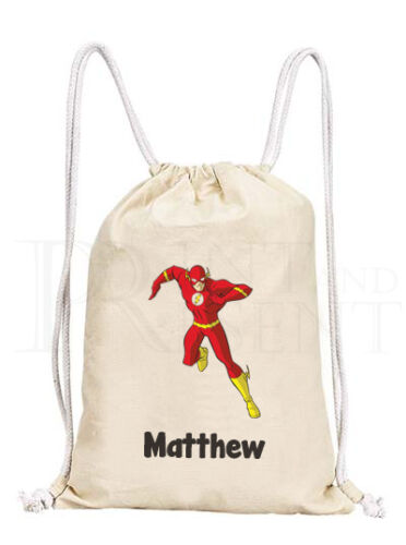 Personalised Childrens Boy The Flash Justice League Drawstring Canvas Gym PE Bag