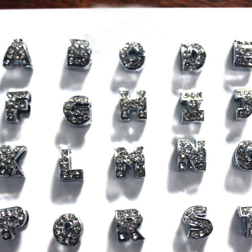 SILVER BRIGHT 1 PEARL METAL 10//10 mm RHINESTONE LETTER ALPHABET CURVED