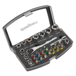 "Siegen by Selaey 31pc 1//4/"" Drive Sq Socket /& Bit Set Sockets Screwdrivers Torx"