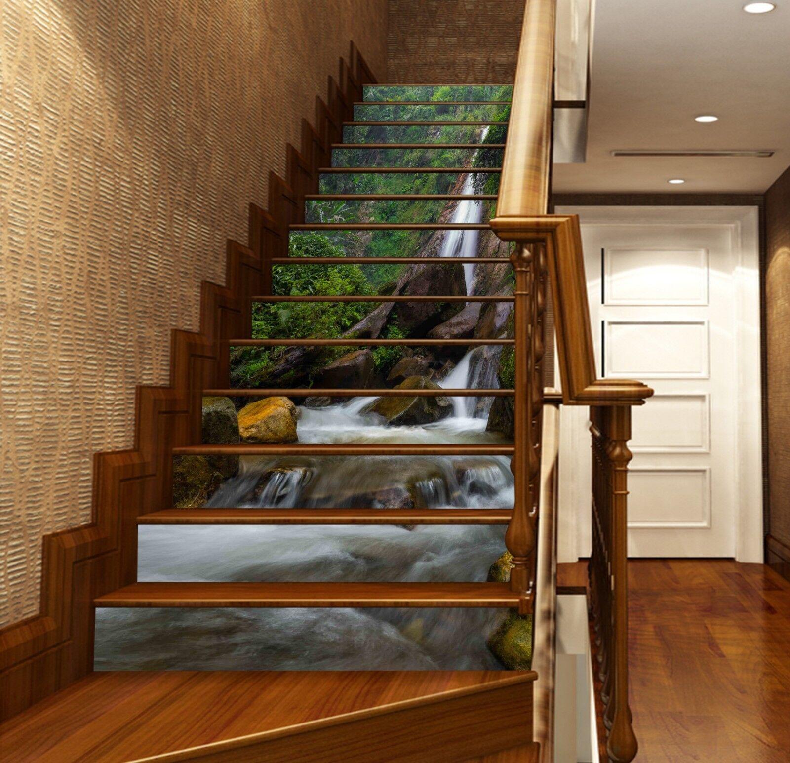 3D Kliff-Fluss 1002 Stair Risers Dekoration Fototapete Vinyl Aufkleber Tapete DE