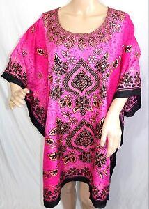 Riviera Sun Women Plus One Free Size Black Mustard Paisley Tunic Caftan Dress