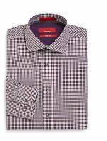Men's Saks Fifth Avenue Red Dress Shirt Trim Fit Gingham Plum 14.5 To 17.5
