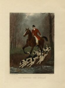 FOXHOUNDS-HORSE-AND-RED-COAT-RIDER-CROSSING-THE-STREAM-FOX-HUNTING-COLOR-PRINT