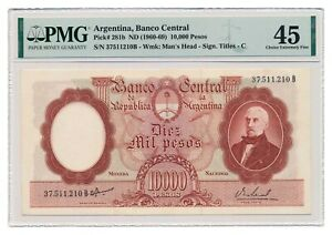 ARGENTINA banknote 10.000 Pesos 1960 PMG XF 45 Choice Extremely Fine