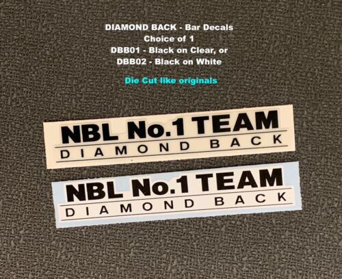 1 Team Die Cut Bar Decal-Available in 2 background colors DIAMOND BACK NBL No