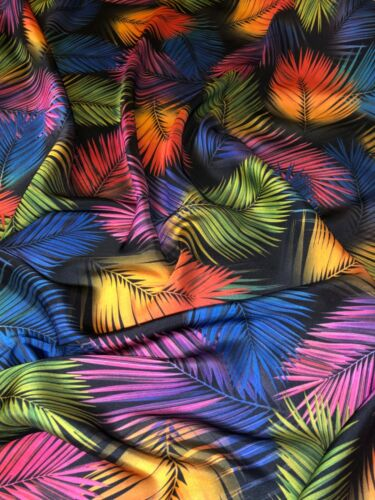 "1 Meter Black Multicoloured Leaf Print Designer Satin Fabric 58"" Dress Costumes"