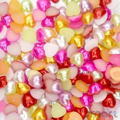 400 pcs Mixed Heart Half Pearl Resin Flatback Embellishment Craft 8x8mm