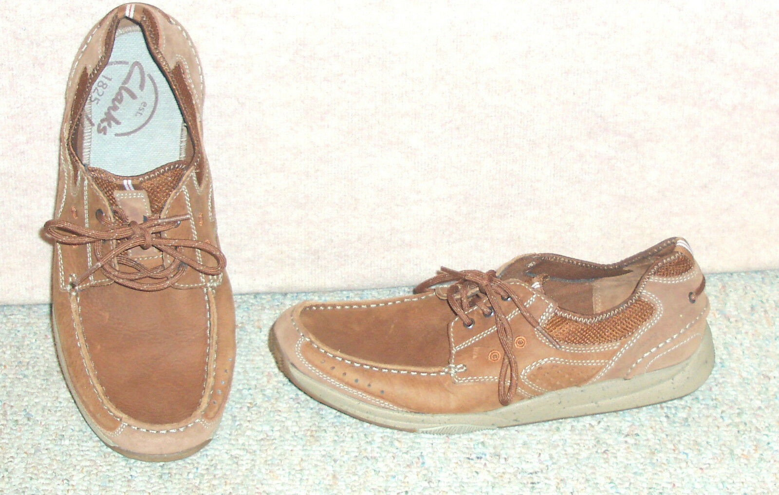 Men's brown shoes leather upper CLARKS boat shoes brown / sz 11 M 91bf1b