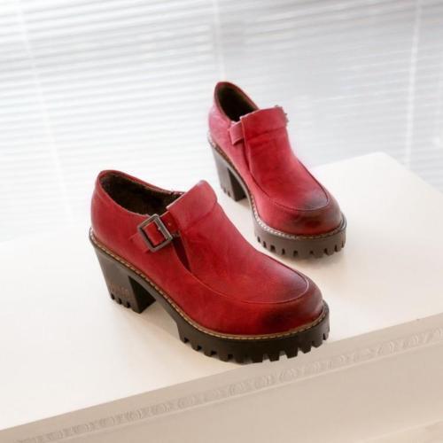 Retro Women Round Toe Platform Strap Buckle Oxfords High Chunky Heels Pump Shoes