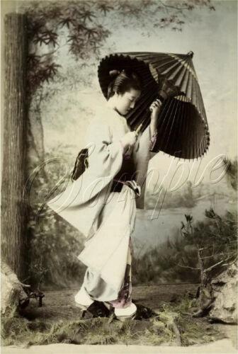 GEISHA GIRL PRINT JAPANESE UMBRELLA ASIAN TINT PHOTOGRAPH VINTAGE CANVAS ART