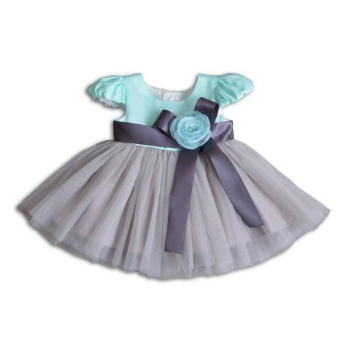 Newborn Baby Christening Party Birthday Dress Green Grey baby dress 3M 6M 12 18M