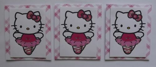 PK 3 BALLET HELLO KITTY TOPPERS FOR CARDS /& CRAFTS