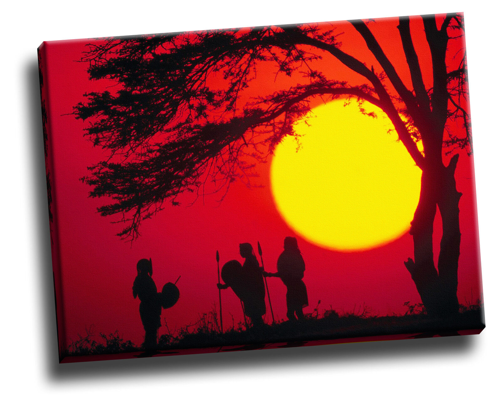 Young Warriors, Maasai Sunset Giclee Canvas Picture Poster Art